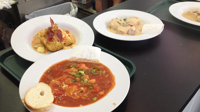 Marilynn's Place brunch options range from Creole-style shrimp and grits (shown at front) to po-boys, jamabalya and etouffee.