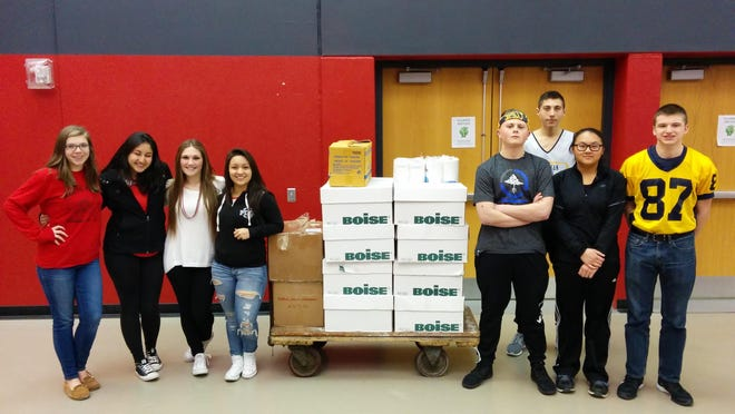 The Sheboygan North High School and Sheboygan South High School Future Business Leaders of America just finished a necessity drive for the Salvation Army. Both schools did a homeroom competition and culminated the drive at the North-South basketball games last weekend. Students collected more than 1,600 items and also made a cash/supplies donation to the Maki family. Pictured, from left, are South FBLA members Cassie Badtke, Erika Escamilla, Erica Wittstock, Daisy Mendiola and North FBLA members Ryan Hoffmann, Nick Ullmer, Dominique Lee and Tony Boeldt.