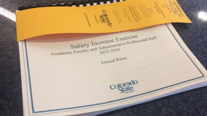 This book at Colorado State University's Morgan Library contains details of the university's 2015-16 salary increase exercise.