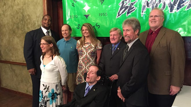 Pensacola Sports banquet honorees gathered Wednesday at New World Landing for a reception. Back row, left to right, Fred Robbins and Charles Gheen, Tori Bindi, Dick Hoyt, Tim Bryant and Mike Killam. Front row, Janis McGowan and Rick Hoyt.