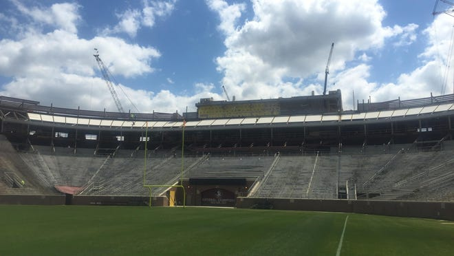 Construction on the Champions Club in the south end zone of Doak Campbell Stadium is scheduled to completed by Florida State's home opener in September.