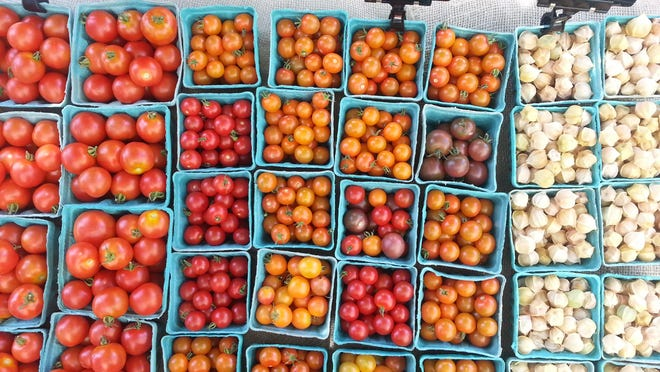 Vibrant tomatoes and husk cherries are shown at the Common Ground Farm stand at the Beacon Farmers Market.
