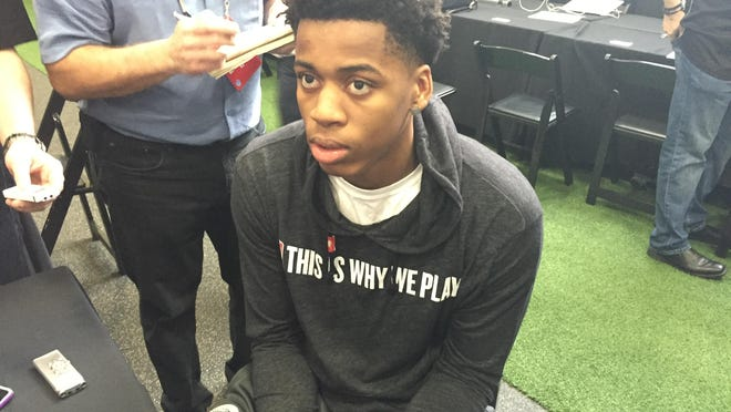 """Deyonta Davis speaks at the NBA draft combine in Chicago on Thursday. """"I'll be going against grown men who are doing this for a living,"""" he said."""