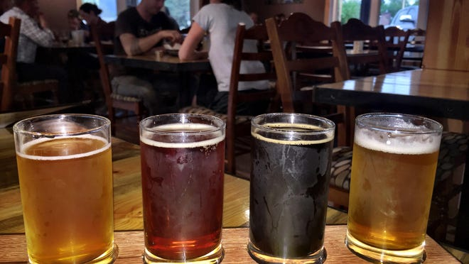 A flight of beer in the tap room/pub of Backslope Brewing of Columbia Falls.