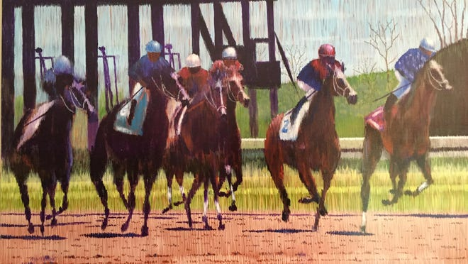 Jim Hall painted this scene of a horse race after a spring visit to Keeneland, using the linellism technique.