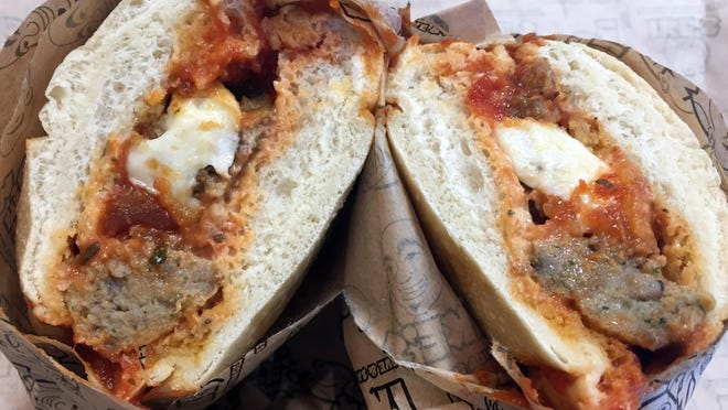 Super Mario Brothers, classic beef meatballs with mozzarella cheese