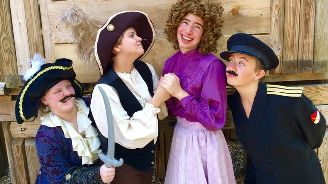 """Starring in the Running to Places production of """"The Pirates of Penzance"""" are, from left, Abby Swartout as The Pirate King, Alyssa Salerno as Frederic, Imri Leshed as Mabel and Noa Shapiro-Tamir as The Major General."""