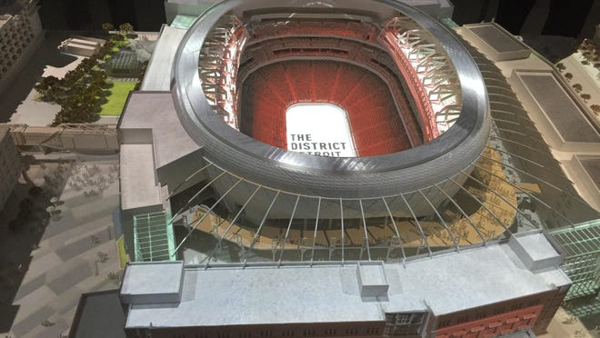 The Red Wings displayed a model of Little Caesars Arena, where the team begins play in 2017-18, at Comerica Park Tuesday.