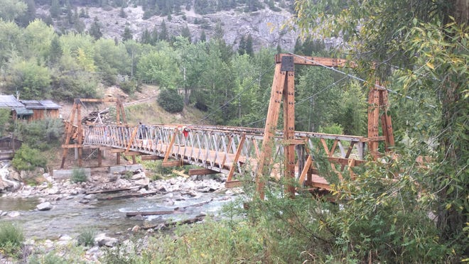 The Medicine Springs Pack Suspension Bridge, located just outside of the Bob Marshall Wilderness west of Augusta, is used by outfitter mule and horse trains, hikers and hunters.
