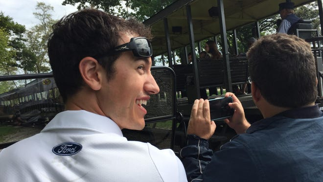 NASCAR driver Joey Logano drove a Model T at Greenfield Village in Dearborn Wednesday during a promotional stop for the Sprint Cup championship chase.