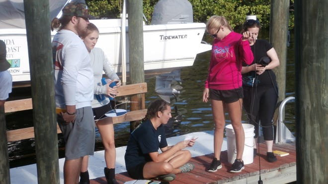 A team of FGCU students collects and tests water samples at the Vester Marine and Environmental Research Field Station in Bonita Springs.