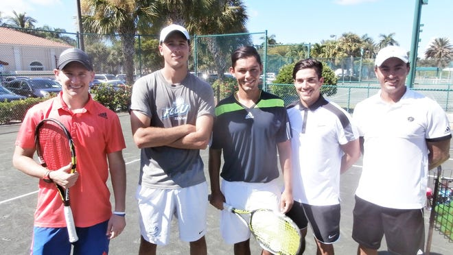 Mike Raymond, left, Jordi Vives, Sergio Rebolledo, Manny Encalada and Paulo Barros pause during a special clinic and exhibition at Cascades at Estero.