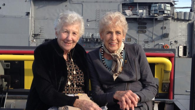 Elly Grasse, left, and Pat Hillman at the commission of the USS Zumwalt in Baltimore. Grasse met Mouza Zumwalt on the ship coming to the US as war brides and they remained friends throughout their lives.
