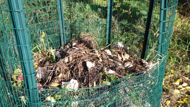 It is not necessary to spend a great deal of money on fancy equipment for composting at home. A simple pile will do, here enclosed in basic wire fencing material.