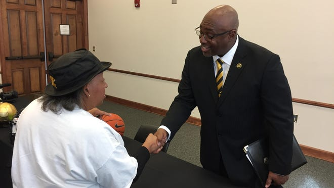 Paul Bryant, right, was introduced as Grambling's new athletic director on Tuesday morning at the Eddie Robinson Museum.
