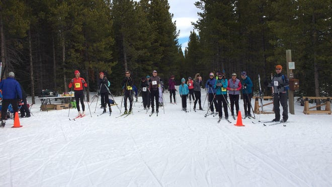 Skate and classic skiers line up for the Silver Crest Trails Association's Nordic Challenge on Feb. 18.