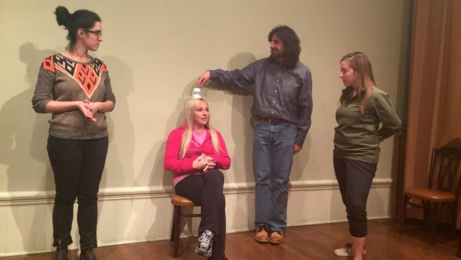 From left, Heather Merlis, Heather Micha, James Melby and Antonia Lobacz will be among the performers at Friday night's improv comedy at the Phelps Mansion in Binghamton.