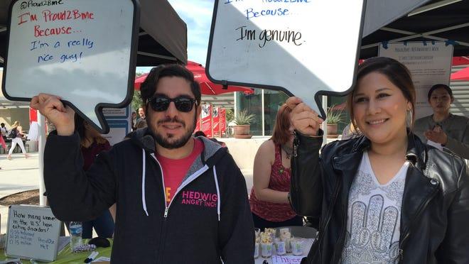 "California State University-Northridge students participate in Proud2Bme on Campus's ""iMedia Bubble"" event."