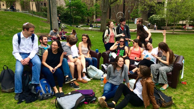 Two couches were placed on College Green at the University of Pennsylvania campus.