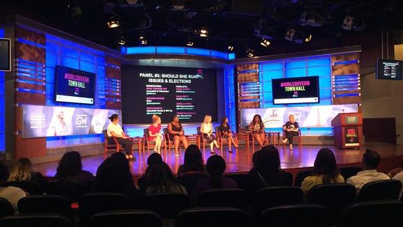 A panel discussion at the #GirlsGovern Town Hall in Washington, D.C. (Photo: Sara Moniuszko)