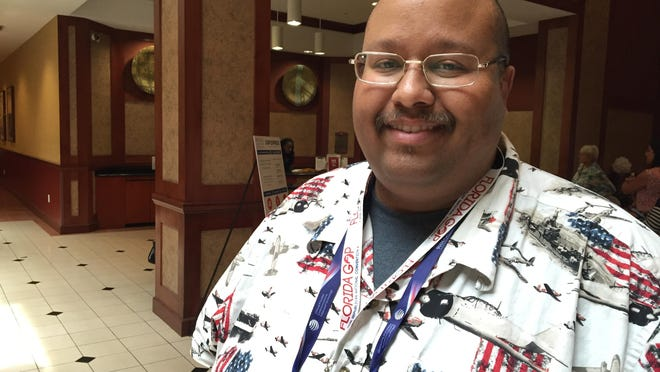 Palm Beach County Republican Chairman Michael Barnett, an at-large delegate to the 2016 Republican National Convention, at  a delegation hotel near Cleveland.