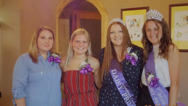 2020 Columbiana County Dairy Princess Chloe Townsend, second from right, poses with her fellow competitors, Kalee Tucker, left, Bailey Campbell, second from left, and 2019 Dairy Princess Tess Neville, right.