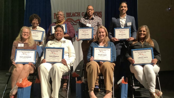 Palm Beach Gardens High School Sports Hall of Fame Class of 2020 inductees are (clockwise, from top left) Sylvia Gibson, Velma Wright, Tamia Williams, Tony Watson II, Lindsay Testa, Kelsey Parry, Carolyn Darville and Mary Lou Bowman. Matt Whitney is not pictured.