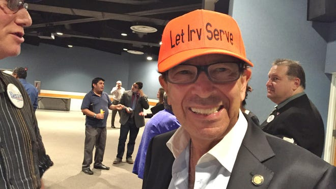 """State Rep. Irving Slosberg, D-Boca Raton, in one of his trademark """"Let Irv Serve"""" hats."""