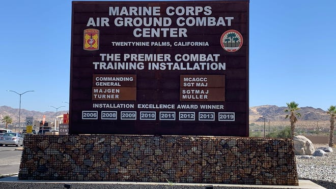 """A suspect has been """"cordoned off"""" at the Marine Corps Air Ground Combat Center at Twentynine Palms after reports of an active shooter on the base, according to Captain Nicole Plymale on July 7, 2020."""