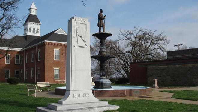 The Confederate monument on the grounds of the Common Pleas Courthouse in Cape Girardeau. The city is considering removing the monument.