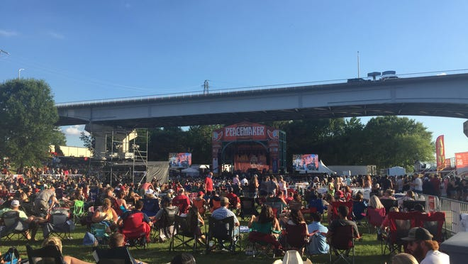 A crowd gathers for Peacemaker Festival on Friday, July 24, 2020, at Riverfront Amphitheater in Fort Smith.