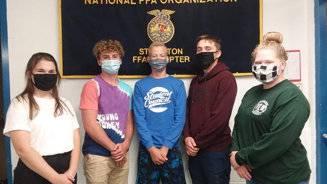The Stockton Stockton Future Farmers of America Chapter held officer elections on Sept. 24. Pictured, from left: Jenna Haas, Connor Vincent, Joseph Brudi, Morgan McPeek and Katie Bartch.