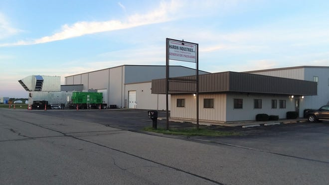 Metal fabricator Hardin Industries Inc. of Lacon plans an expansion on land across the street from its present location at 400 N. Commercial St., and the City Council has agreed to sell 10 acres of the industrial park land for $60,000. At left, some of the generator packaging units and other products manufactured there sit outside the building.