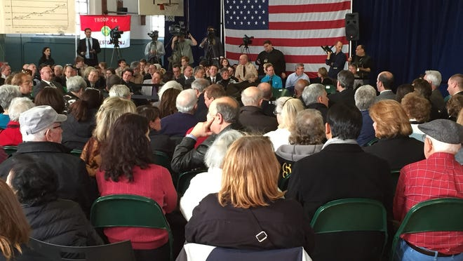Gov. Chris Christie was in Moorestown Wednesday for his 128th town hall (iPhone photo)