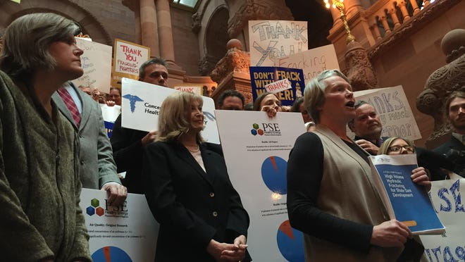Kathleen Nolan, regional director of Catskill Mountainkeeper, speaks at a rally Thursday at the state Capitol's Million Dollar Staircase, where anti-fracking advocates thanked Gov. Andrew Cuomo for banning large-scale hydraulic fracturing.