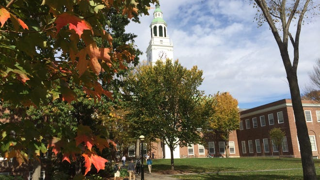 Baker Memorial Library dominates the green at Dartmouth College in Hanover, N.H.