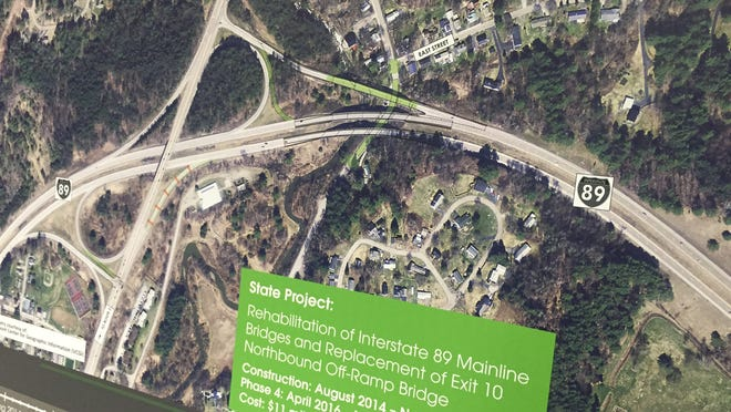 Aerial photos show construction plans for the I-89 bridges at exit 10 in Waterbury. Officials from the Vermont Agency of Transportation Wednesday held a meeting in Waterbury to discuss upcoming construction along U.S. 100.