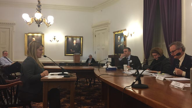The Senate Committee on Natural Resources and Energy hears testimony Wednesday by Gillian Galford, research assistant professor at the University of Vermont, on the effects of global warming.
