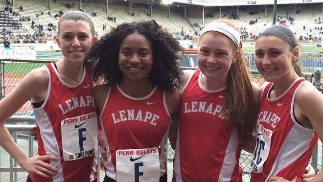 The Lenape High School girls' relay team defended its title in the South Jersey Big School 4x400 with (L to R) Carly Pettipaw, Jasmine Staten, Shannon Storms and Marissa Topolski at the Penn Relays.