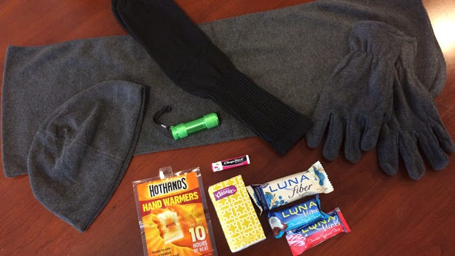 Volunteers for the annual Point-in-Time Count handed out kits containing scarves, hats, gloves, socks, hand warmers, tissues, lip balm, flashlights and granola bars to the people they came across.
