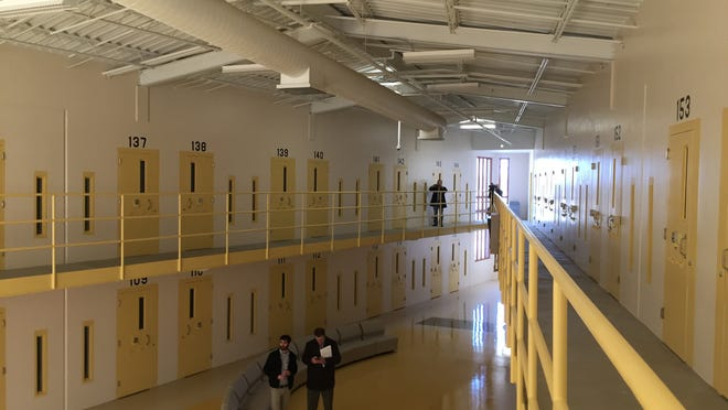 Inside a cellhouse at new state prison in Fort Madison, which remains vacant because of mechanical problems.