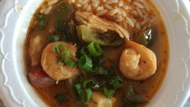 The Zydeco Seafood Gumbo from Saltwater Smokehouse is made from shrimp, scallops, chicken and the restaurant's house-smoked sausage.