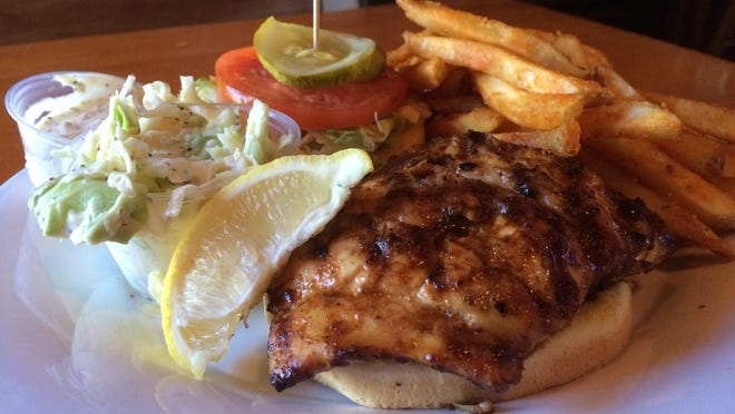 A mesquite-grilled grouper sandwich from Smokin' Oyster Brewery on Fort Myers Beach.