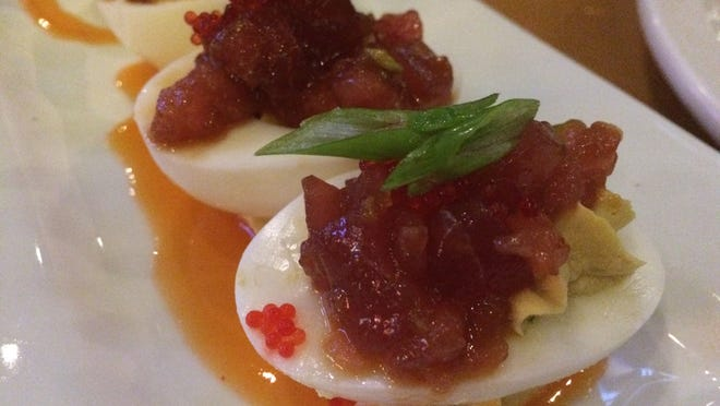Eggs Diablo were topped with tuna tartar and tobiko this night at Cork Soakers in Cape Coral.