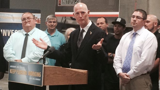 Florida Gov. Rick Scott touts his STEM proposals Monday at Entertainment Metals in Fort Myers.