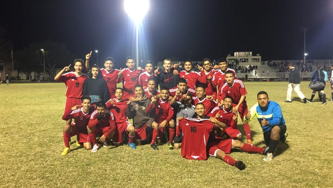 The LaBelle boys soccer team celebrates after its 4-1 win over St. Petersburg Catholic in the Region 2A finals on Feb. 6.