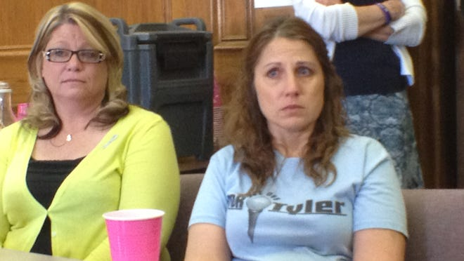 Cinda McGilton, (left,) lost her son, Bubba Andrews, to the cancer cluster. Donna Hisey, (right,) has two boys with cancer.