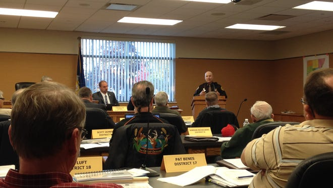 Kewaunee County Sheriff Matt Joski addresses the Kewaunee County Board of Supervisors at its Oct. 21 meeting about the emergency radio and paging system updates, a regular meeting procedure for the last year.