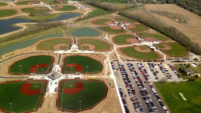 This is an aerial view of Westfield's Grand Park, May 2014.  Photo by Emily Bible, provided by the City of Westfield