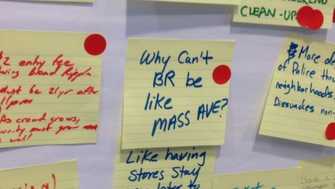 Broad Ripple residents posted their suggestions at a forum on public safety on Wednesday July 23, 2014.